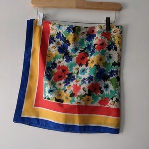 Square Floral Scarf Red Yellow Blue VINTAGE